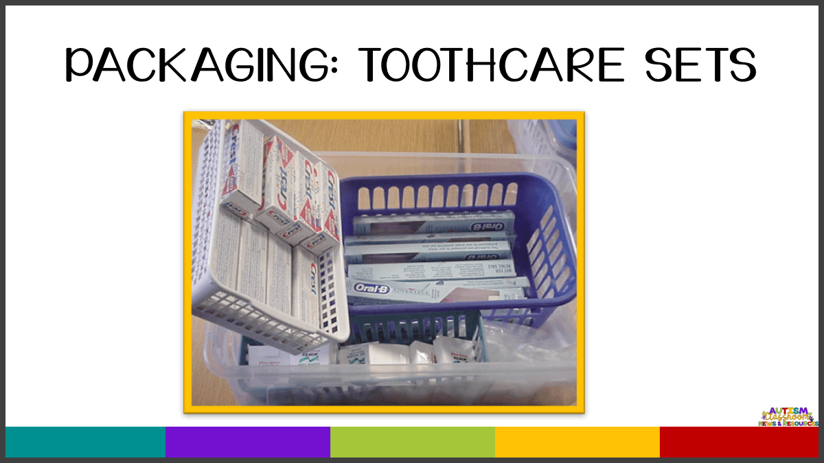 When packaging toothcare sets in an independent work system, it's important that there aren't extra pieces.  Find out the other 4 things your independent work tasks need in this post.