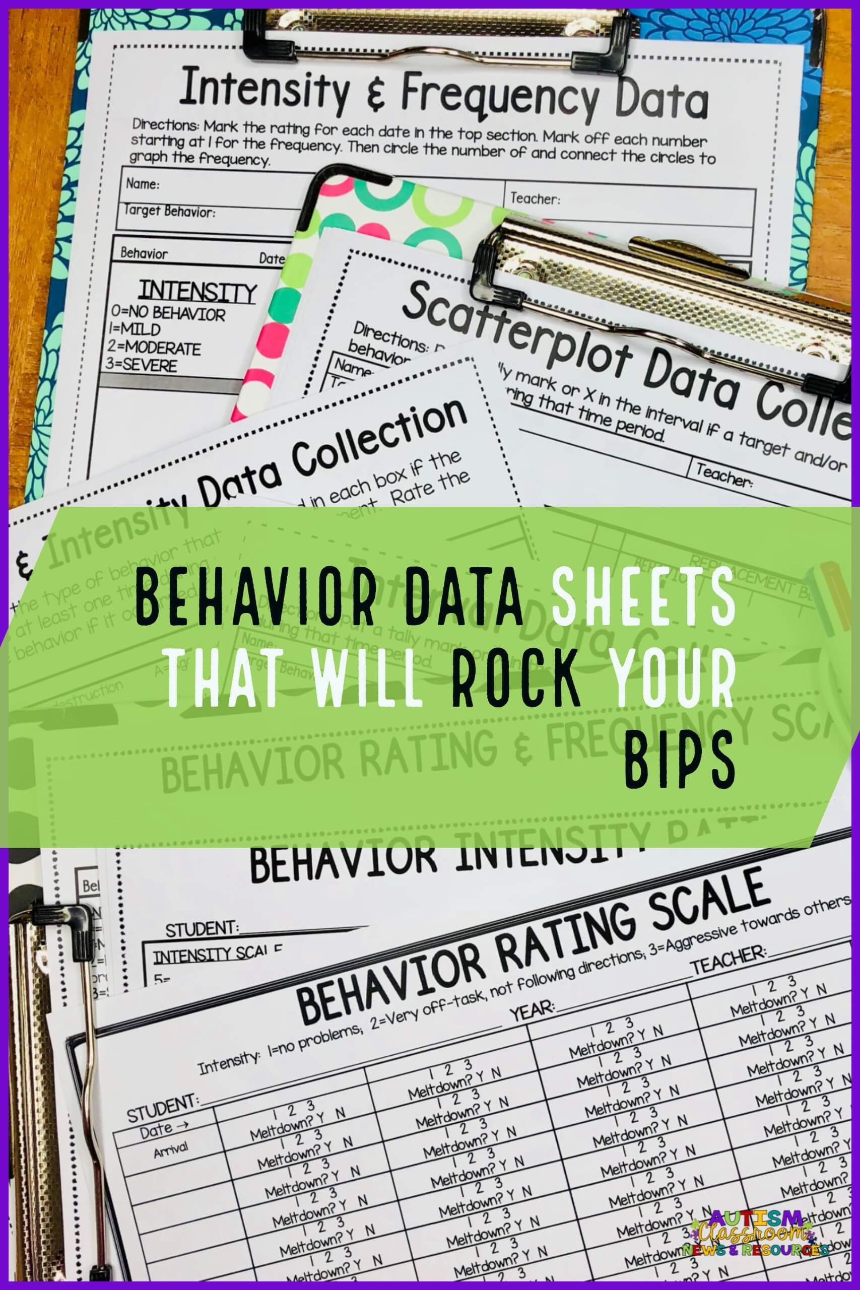 Rating scales are a lifesaver when it comes to tracking problem behavior for a behavior support plan. They can help you figure out whether the severity is getting better or worse and they are easy to use. This post has tons of examples of rating scales and behavior data sheets that will make a special education teacher's life so much easier!!