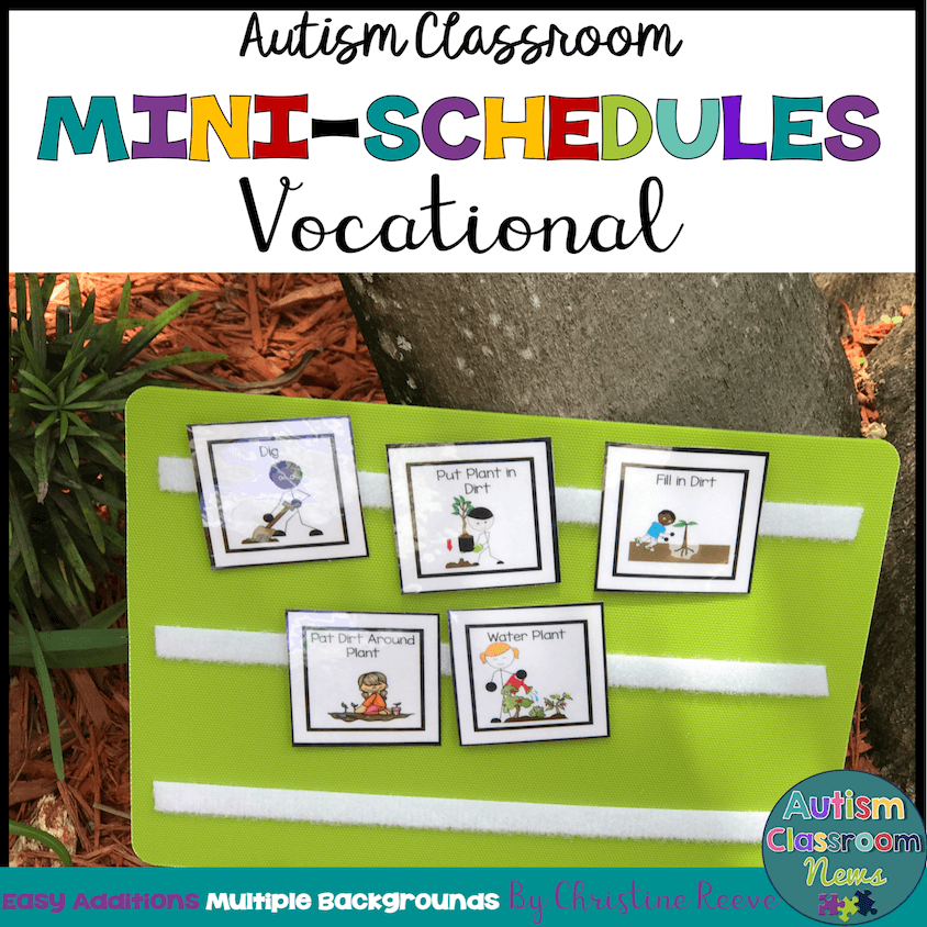 Autism Classroom mini schedules vocational. Gardening mini schedule against a tree.
