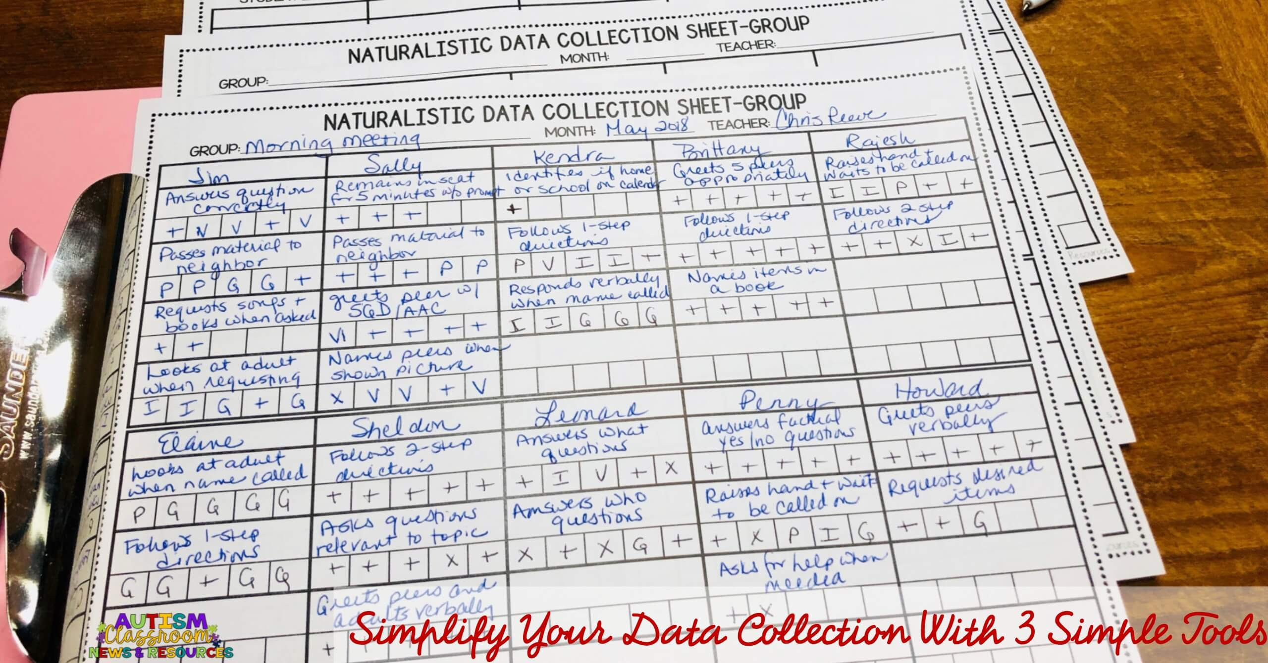 Group data sheets that can be used to track progress of multiple students with data samples.