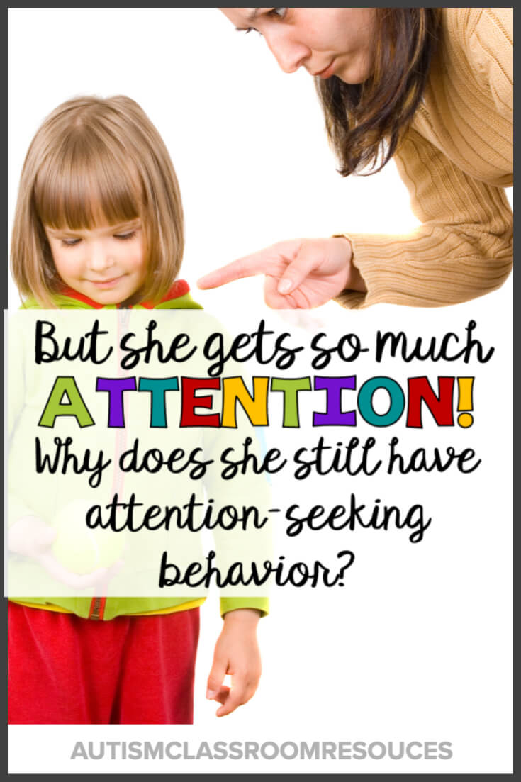 You know that student in your class who just keeps pushing all the buttons? She can even get the whole class going at times. You give her tons of attention for positive behavior, but these negative behaviors just keep going. Click through to check out why that may be happening and what you can do about it. #pbis #behaviormanagement #behaviorsupport #attention-seeking #behaviorproblems #positivebehaviorsupport