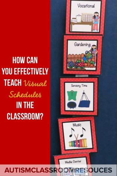 How do you teach visual schedules in your special education classroom or to students with autism in general education? The way schedules are sometimes presented, they sound like magical fairy wands that will solve all your problems in your classroom, right? Wrong! Just like everything from math to behavior, schedules require us to teach the students to use them too. Students don't come pre-programmed to use them. Find out tips for how to teach them effectively in your classroom. #visualschedules #activityschedules #visuals #visualscheduleautism #autismschedule #visualsautism #teachvisuals