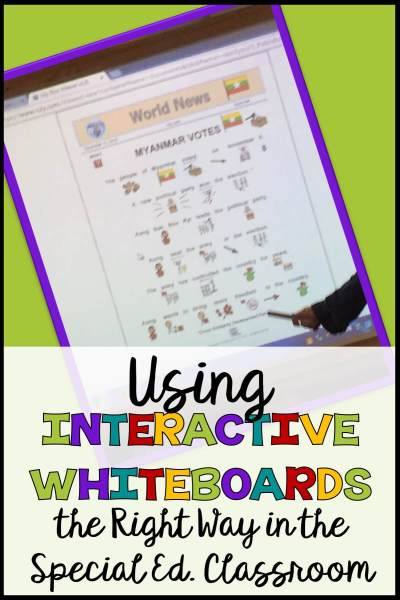 In the 21st century we are all about technology, and special ed should be no different. But, how are we using technology to really advance our student's proficiencies? Interactive whiteboards are something I see in almost every classroom, but many times they aren't interactive for the students in the way they are used. Find out some Dos and Don'ts to put your interactive whiteboard to the best use in this post and share strategies you have done with them in the comments! #interactivewhiteboards #smartboards #technologyinspecialed #specialeducationtech #interactivetools #interactivewhiteboardactivities #smartboardactivities