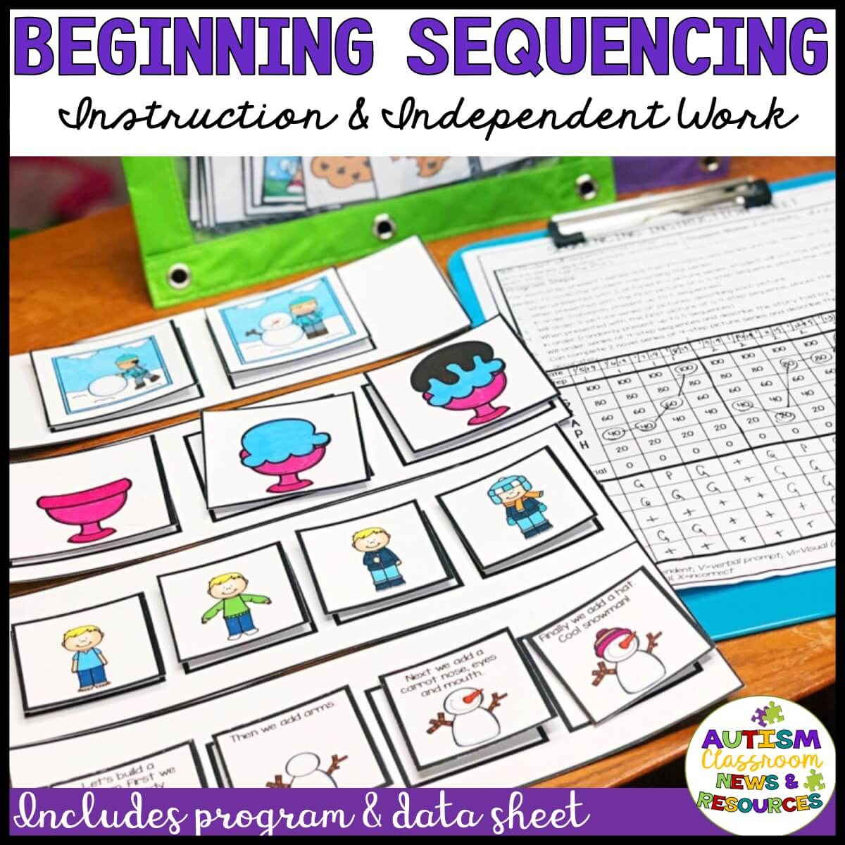 The beginning sequencing kit has everything you need to take your students from learning first-next to 4-picture sequences with text.  Includes a data sheet and video tutorial as well as templates for each set.