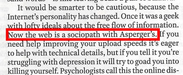 """screenshot of print edition of Time magazine highlighting the sentence, """"the web is a sociopath with Asperger's"""""""