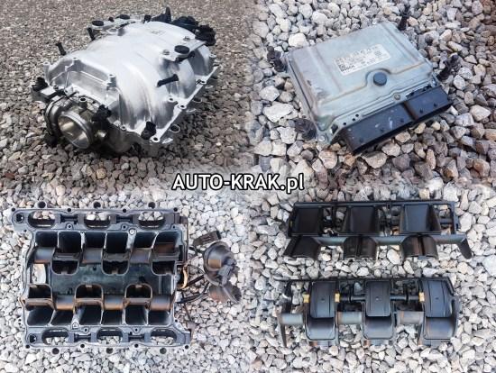 Kolektor ssący silnika V6 mercedesa z widocznymi awaryjnymi klapami wirowymi oraz komputerem pokładowym (ECU)