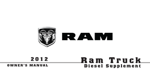 2012 Dodge Ram Truck Owner's Manual Diesel Supplement