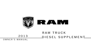 2013 Dodge Ram Truck Owner's Manual Diesel Supplement
