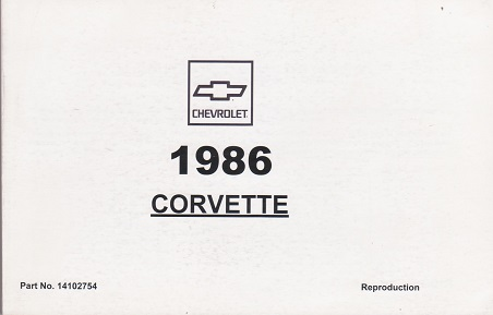 1986 Chevrolet Corvette Factory Owner's Manual