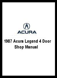 1987 Acura Legend 4 Door Shop Manual