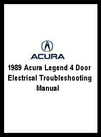 1989 Acura Legend 4 Door Electrical Troubleshooting Manual