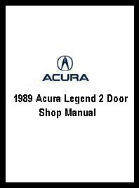 1989 Acura Legend 2 Door Shop Manual