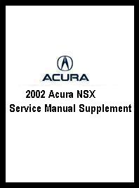 2002 Acura NSX Service Manual Supplement