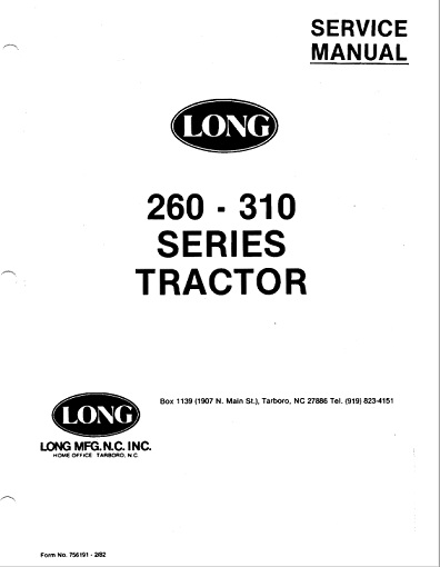 Long 260, 310, 320, 2260, 2310 Tractor Service Manual