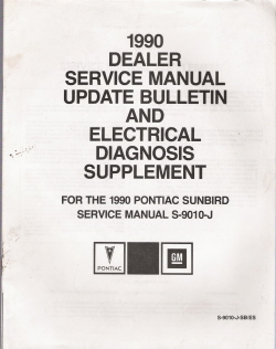 1990 Pontiac Sunbird Factory Service Manual Update