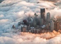 new york aurore nuages