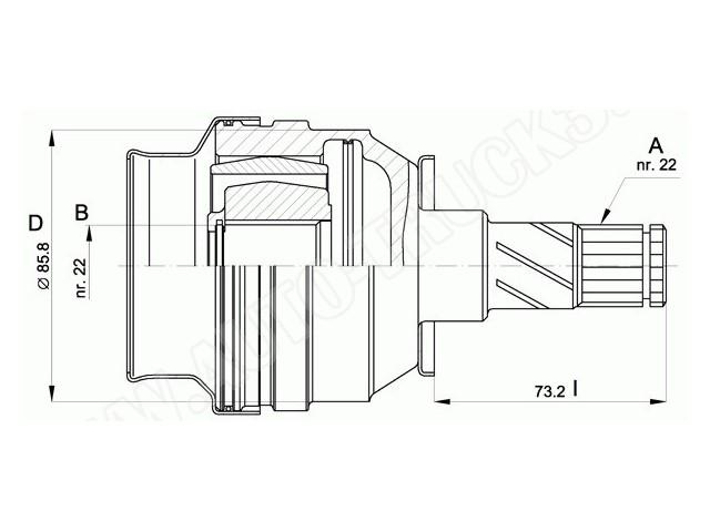 Przegub wewnętrzny półosi napędowej od strony skrzyni