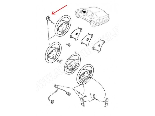 Płytka klaksonu,styk sygnału Opel Astra F,G, Calibra,Combo