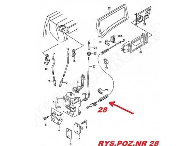 Linka-cięgno klamki zamka drzwi przednich Audi 100 C4 90
