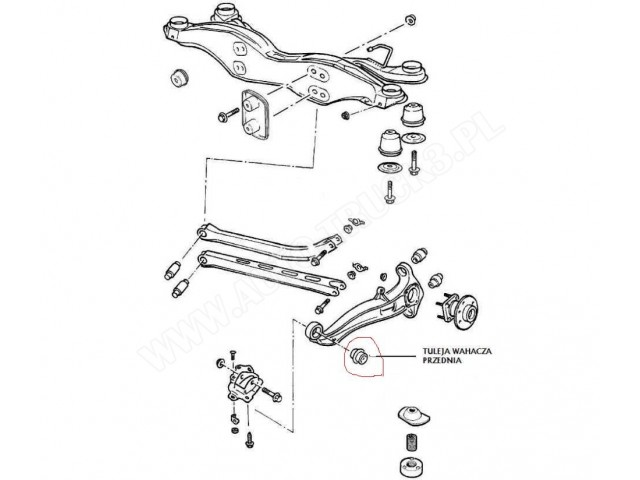Tuleja wahacza poprzecznego tylnego zawieszenia Opel Vectra B