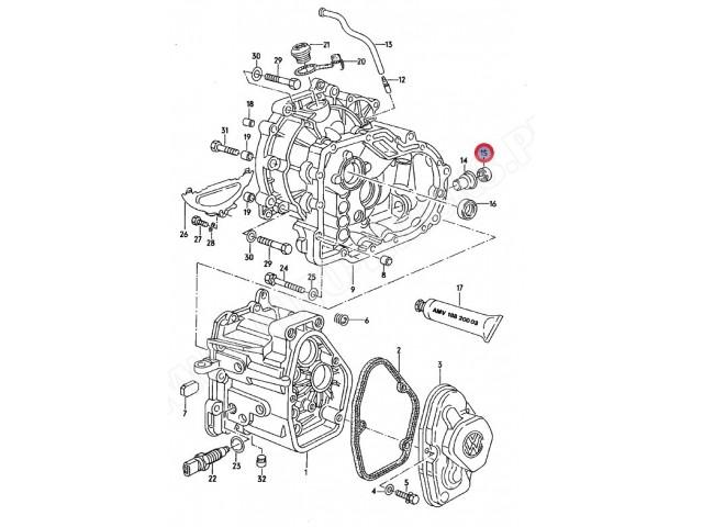 Uszczelniacz wałka wybiraka manualnej skrzyni biegów Audi