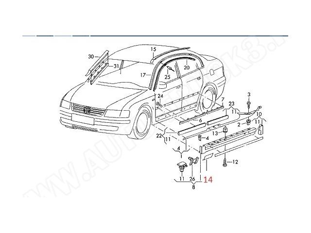 Zaślepka lewa otworu w progu pod lewarek-podnośnik VW