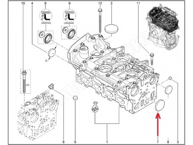 Zaślepka przednia wałka rozrządu silnika Dacia,Opel Vivaro