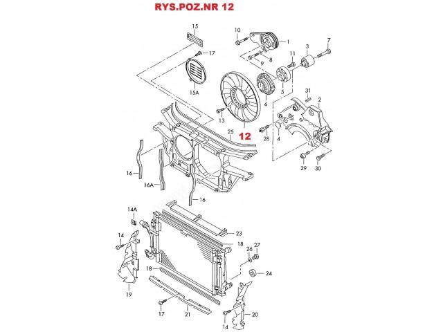 Wiatrak-śmigło-koło silnika wentylatora chłodzenia silnika