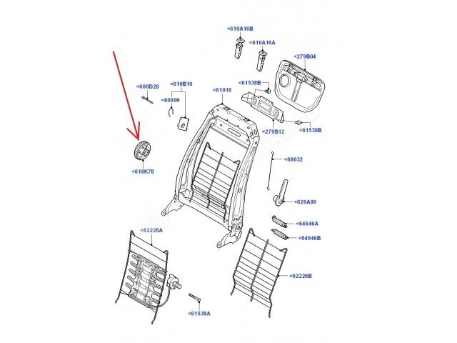 Pokrętło-gałka regulacji położenia oparcia fotela
