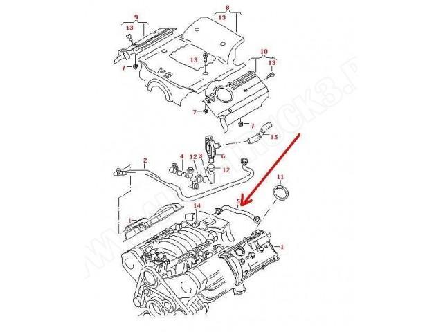 Przewód ODMA,rurka odpowietrzenia pokrywy skrzyni korbowej