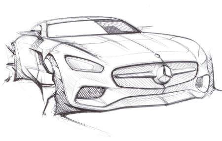 Mercedes AMG GT Teaser: Erste Skizzen zum neuen Sportler