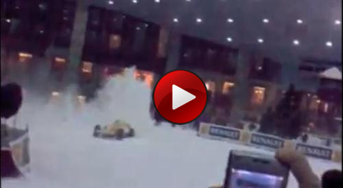 renault f1 drifting on ski dubai