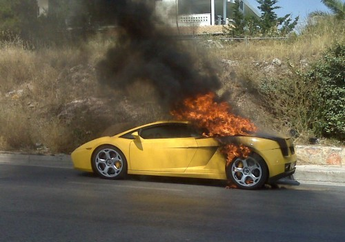 Lamborghini Gallardo in flames at Athens