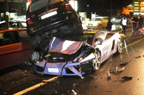 Lamborghini Gallardo LP560-4 Polizia crash