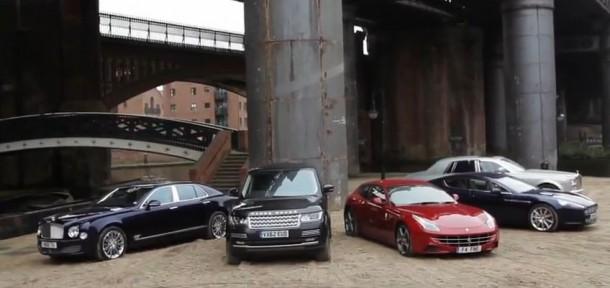 Range Rover Vs Ferrari FF Vs Rolls Royce Phantom Vs Bentley Mulsanne Vs Aston Martin Rapide