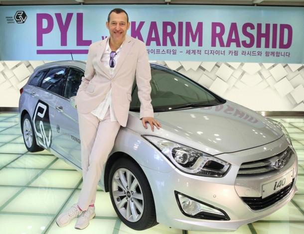Karim Rashid with a Hyundai i40