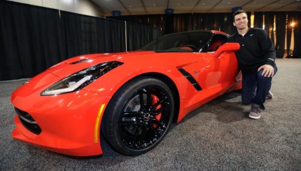 Super Bowl MVP Joe Flacco and his Corvette Stingray 2014 (1)
