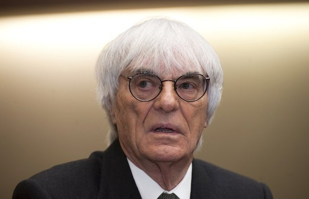 F1 supremo Bernie Ecclestone waits to testify in the trial against banker Gerhard Gribkowsky at a district court in Munich