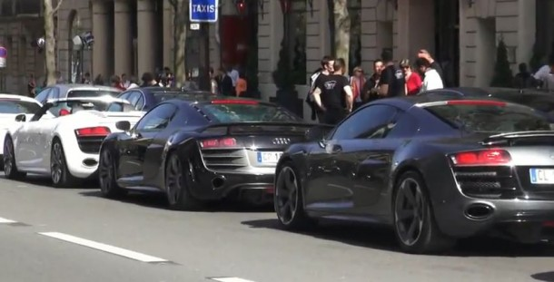Audi R8 parade for IRON MAN 3 movie