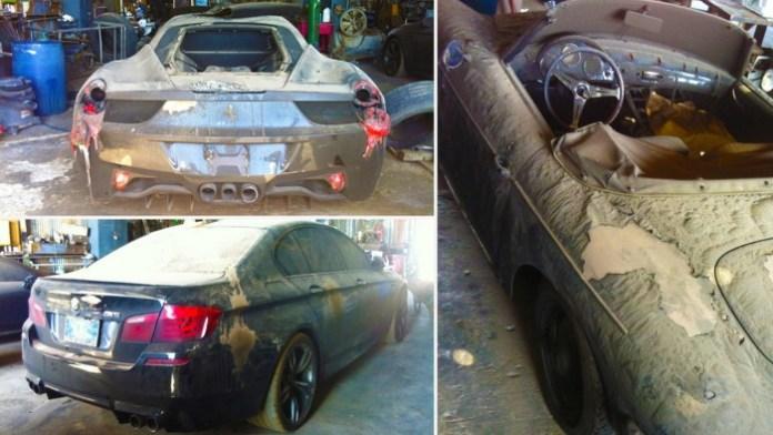 Burned BMW M5, Porsche and Ferrari (1)