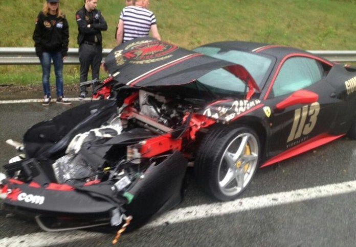 Ferrari 458 Italia crash during Gumball 3000