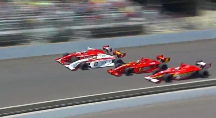 2013 Firestone Indy Lights Close Finish! Freedom 100 4 Wide Finish