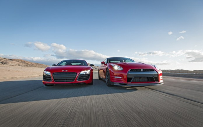2014-Audi-R8-V10-Plus-Nissan-GT-R-Track-Pack-front-end-in-motion