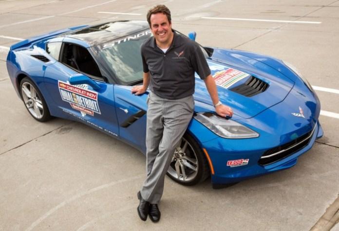 GM North America President Mark Reuss with the Corvette Stingray Pace Car (1)