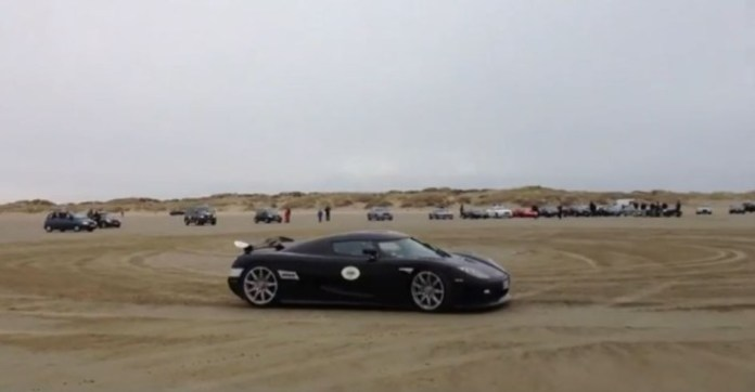 Koenigsegg CCXR drifting at the beach