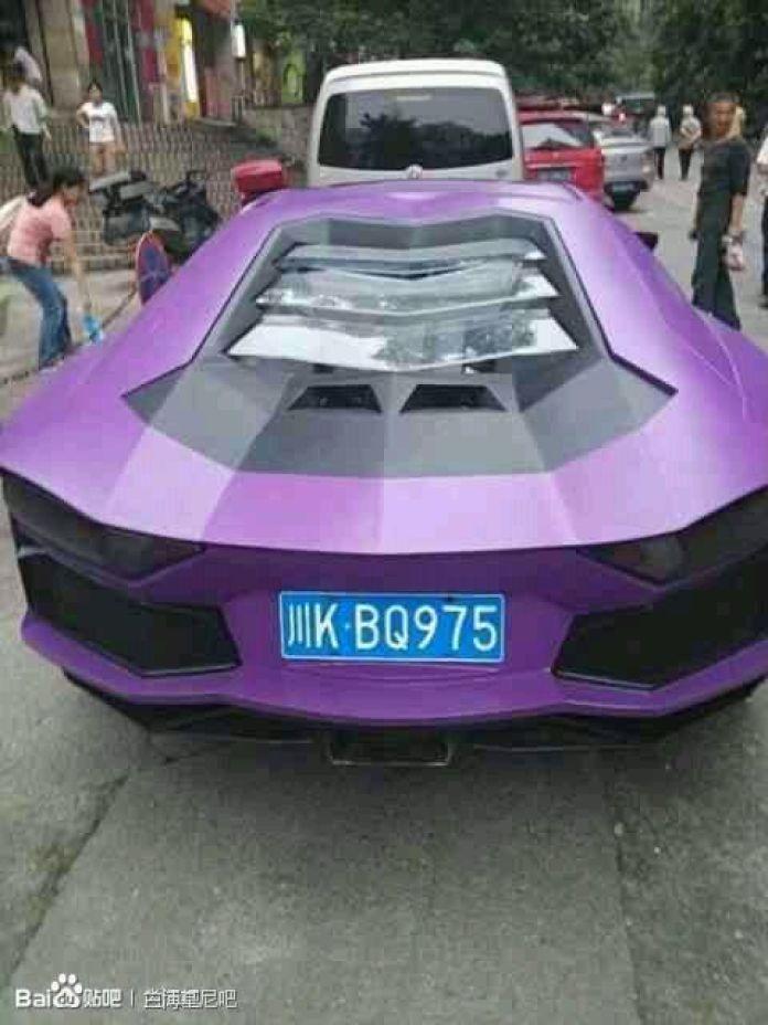 Purple Lamborghini Aventador Replica in China (1)