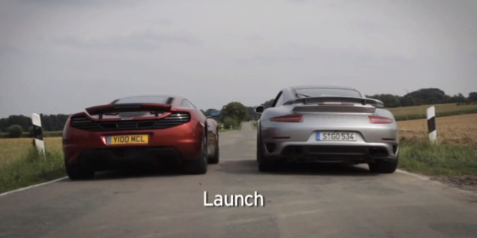 Drag race- Porsche 911 Turbo S vs McLaren 12C - 0-60mph