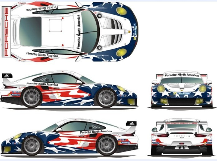 Porsche 911 RSR in Porsche North America livery for the U.S. Tudor United SportsCar Championship