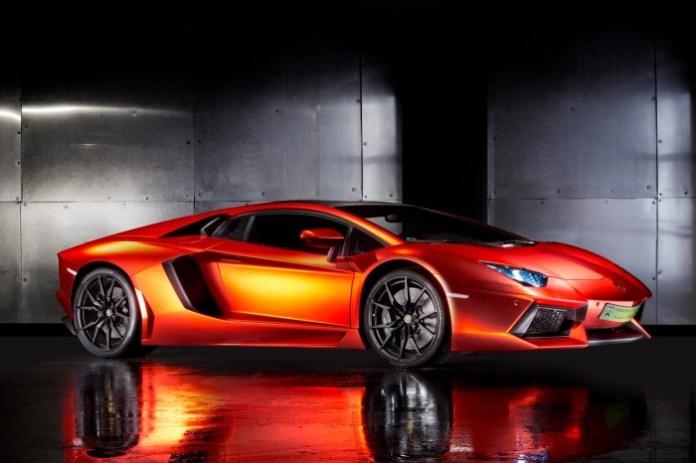 Lamborghini Aventador with Matte Orange-Red Chrome Vinyl (1)