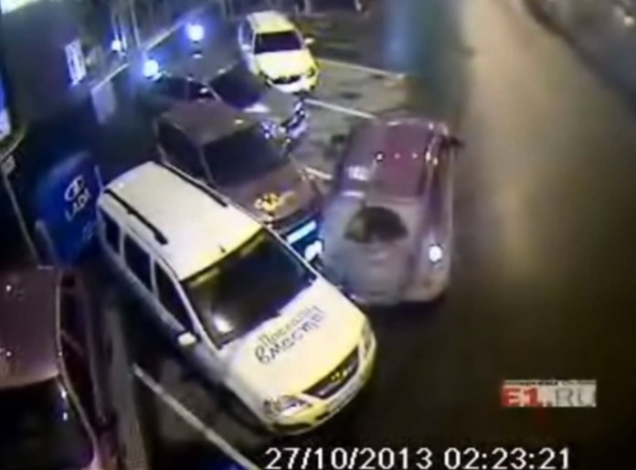 Woman driving Suzuki Grand Vitara goes car bowling in Russia